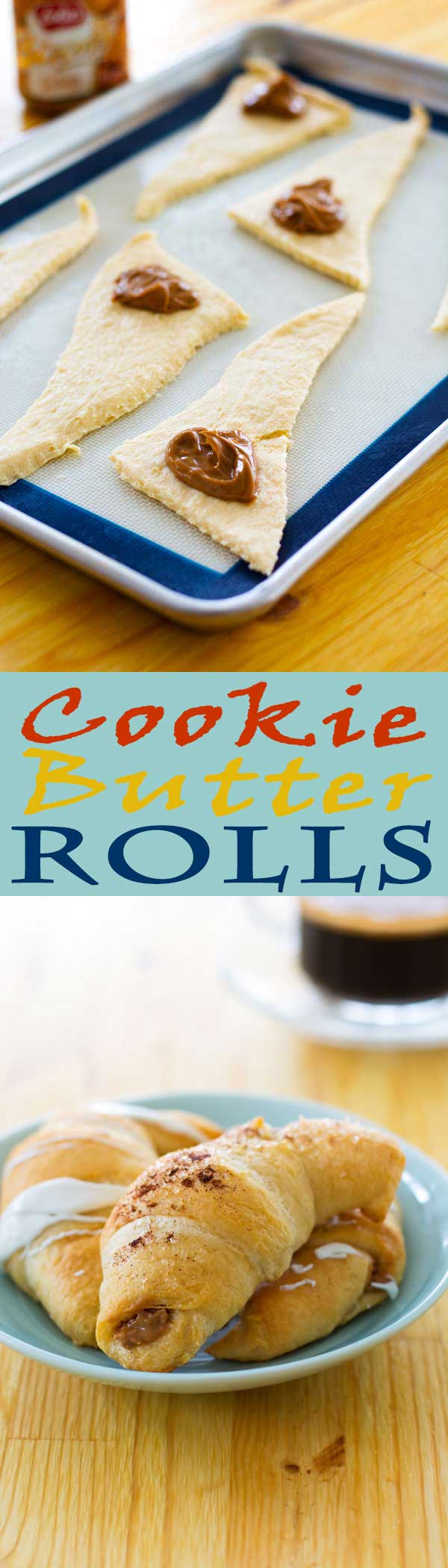 These cookie butter rolls are made with only two ingredients – crescent rolls and Biscoff cookie butter spread!