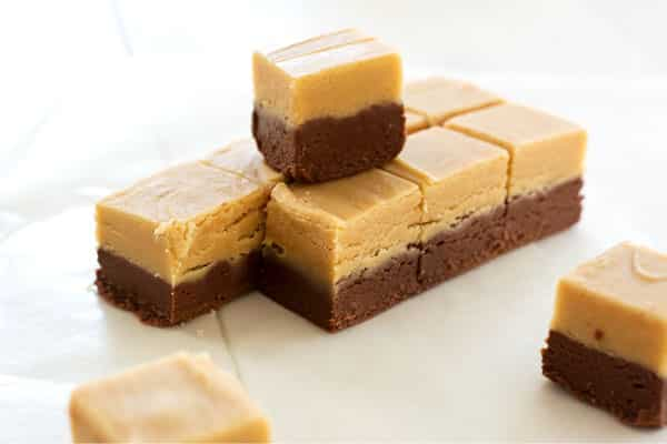 Easy chocolate peanut butter fudge is a nostalgic treat! Creamy confection with two layers of chocolate and peanut butter!
