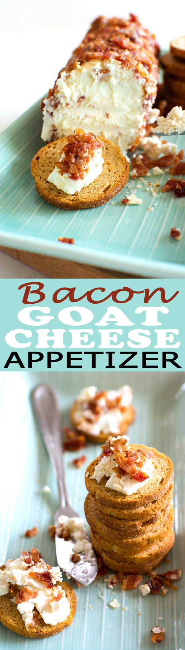 Creamy Bacon Goat Cheese Log: this easy appetizer has only two ingredients and tastes incredible!  #appetizer #easter #food #foodgasm #foodgawker #bacon #cheese #recipe #recipeoftheday #baconday #recipeideas