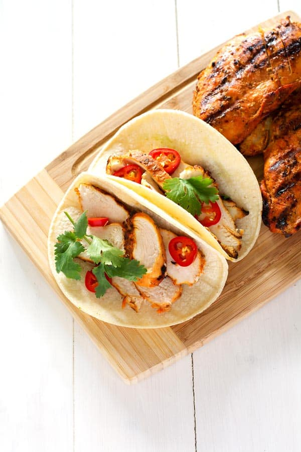 Easy grilled chicken tacos marinade. Juicy and seasoned to perfection!