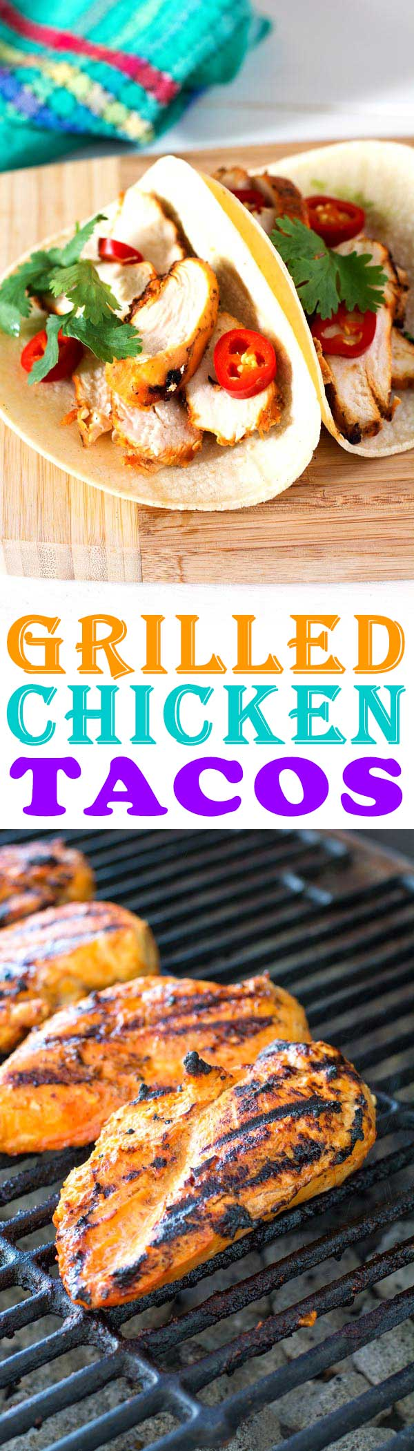 Easy grilled chicken tacos marinade. Chicken taco seasoning for juicy perfection!