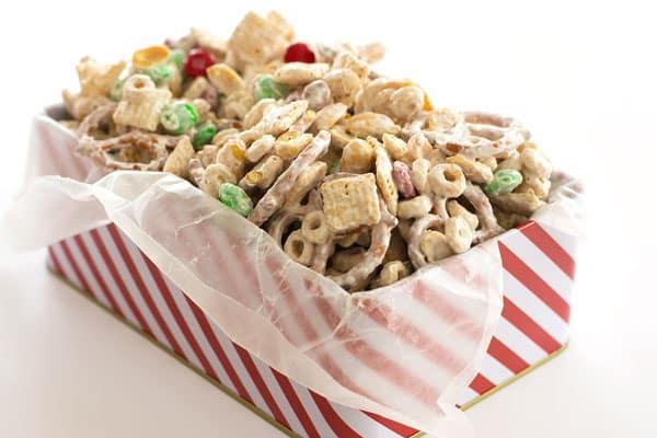 White Chocolate Chex Mix Pretzels