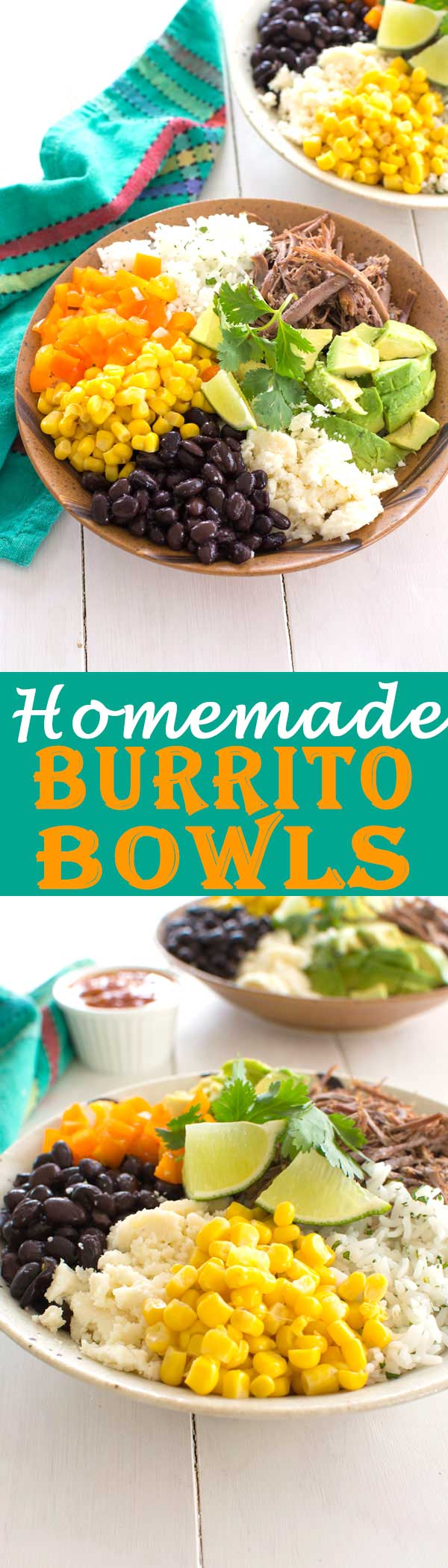 Skip the Chipotle burrito bowls and make your own homemade burrito bowl with chicken, pork, beef or veggies!