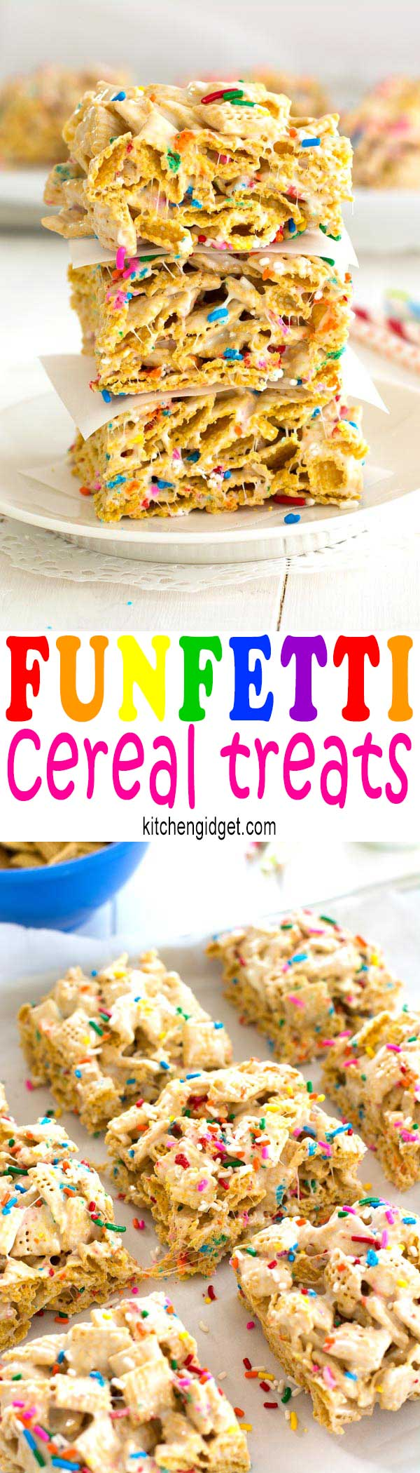 Funfetti Marshmallow Crispy Treats - cereal bars made with Chex, sprinkles and a hint of vanilla!