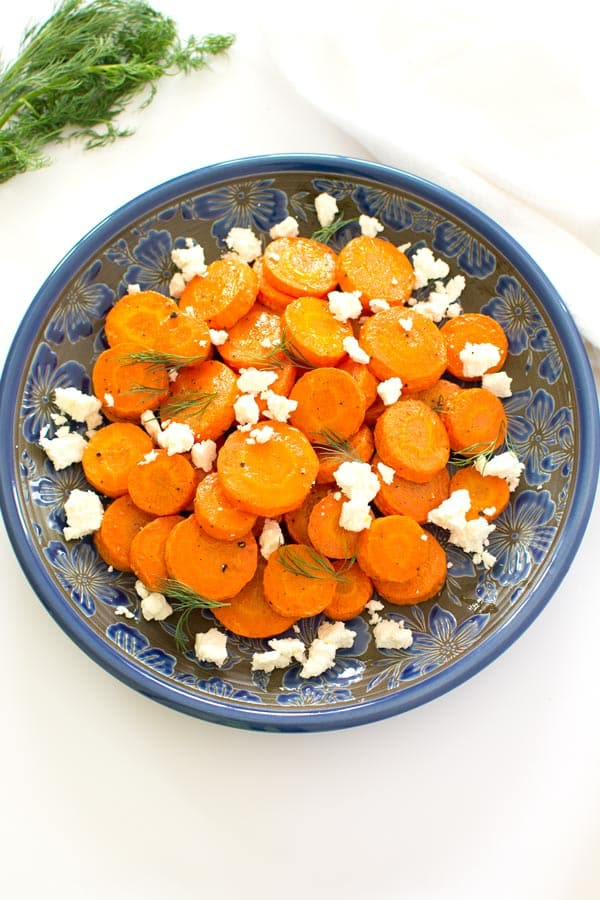 Oven roasted carrots with feta cheese are a super easy (and delicious) side dish!