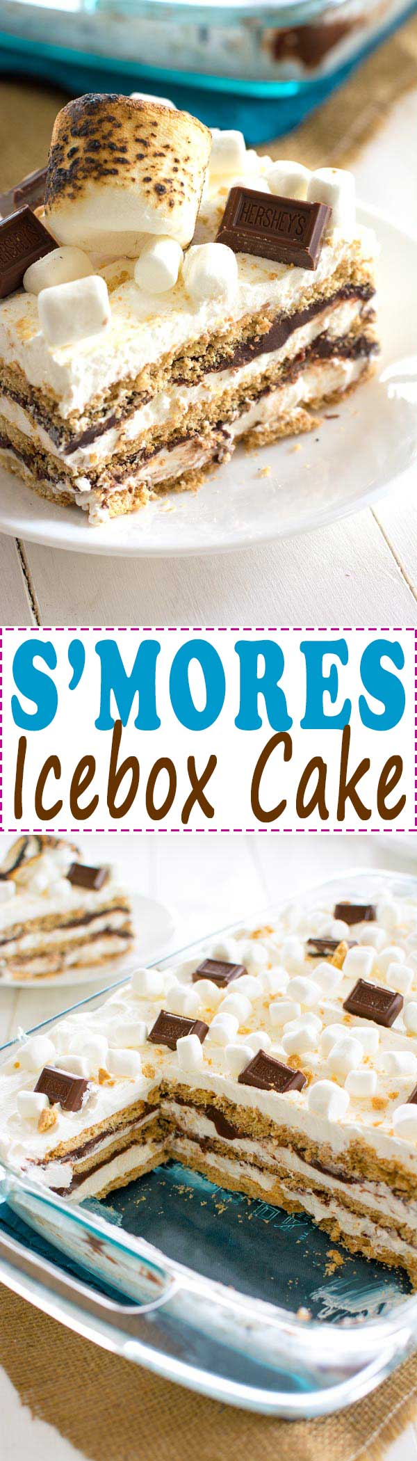 No-bake S'mores Icebox Cake with layers of graham crackers, marshmallow cream and chocolate - this dessert feeds a crowd!