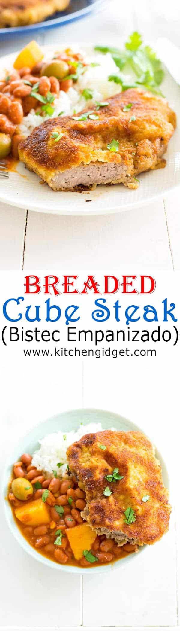 Easy breaded cube steak recipe (bistec empanizado) is a staple in Puerto Rican cooking. Seasoned, breaded and fried to crispy perfection!