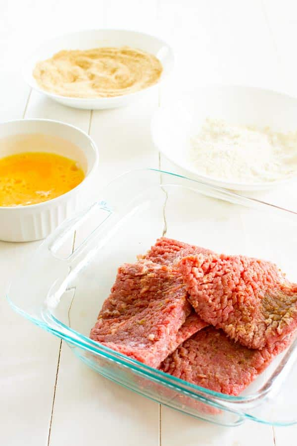 Breaded cube steak (bistec empanizado) breading station. Mise en place!