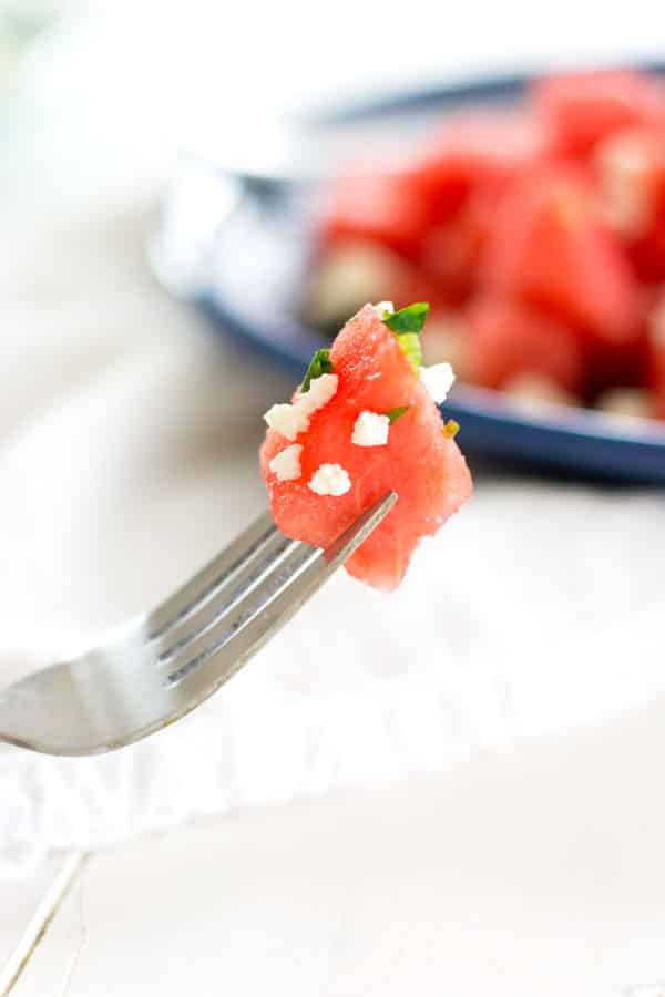 Serve this Watermelon and Feta salad with lemon and mint as a salad or appetizer! Summer on a plate.