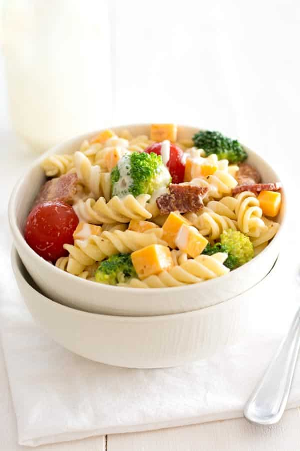 Bacon Cheddar Ranch Pasta Salad is a hit at potlucks! Or add chicken for an easy dinner with veggies!