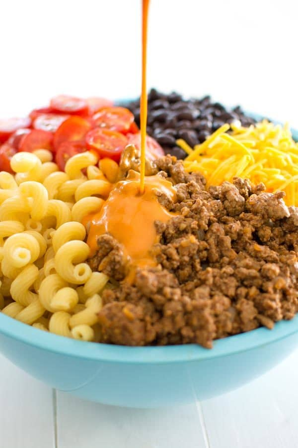 Cold Taco Pasta salad with ground beef and Catalina dressing - great for dinner or side dish for potlucks!