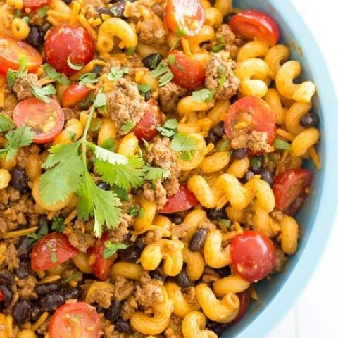 Cold Taco Pasta salad with ground beef and Catalina dressing - quick and easy dinner or side dish for potlucks!