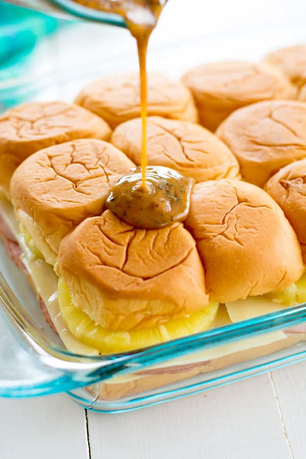 Hawaiian Ham and Cheese Sliders with pineapple. You'll want this snack recipe for the Super Bowl!