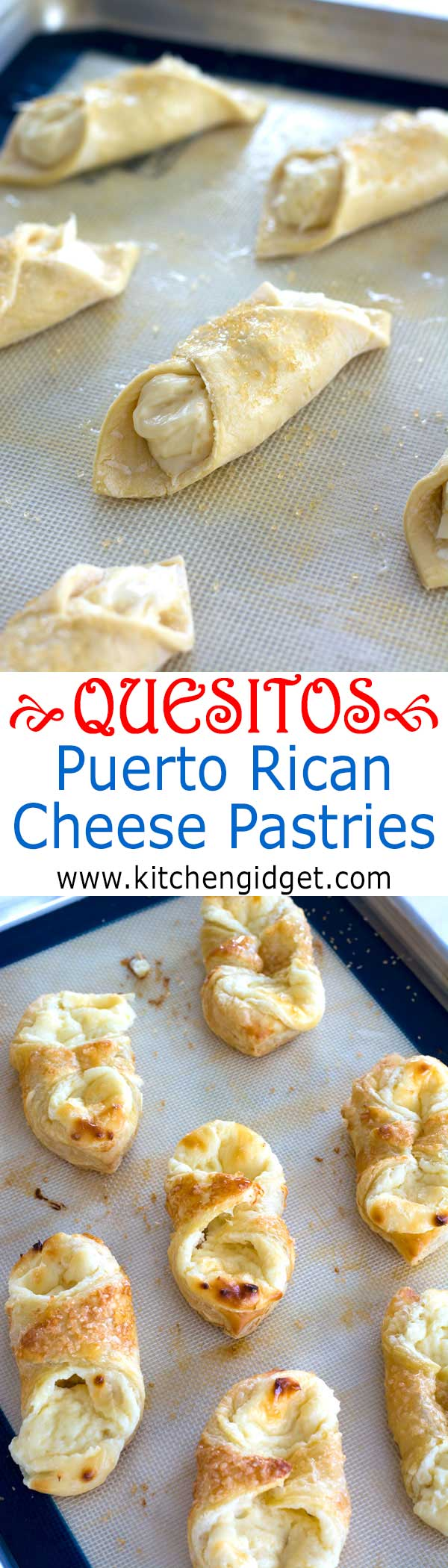 A quesitos recipe just like you find in Puerto Rican bakeries. Sweet cream cheese breakfast pastries in layers of light, crisp puff pastry!