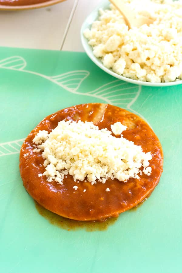 Queso Fresco Enchiladas - the best cheese enchiladas with red sauce are so easy!