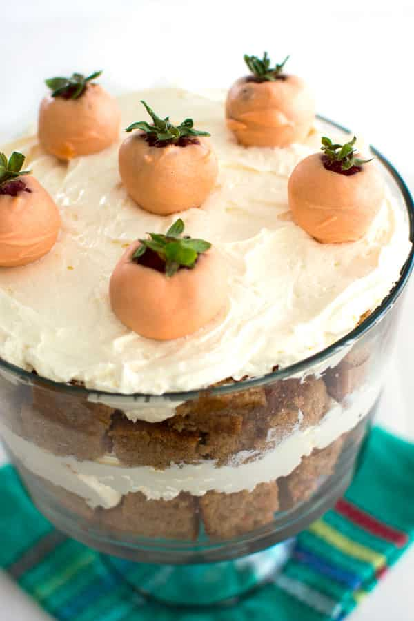 Carrot Cake Trifle with cream cheese frosting is an easy Easter dessert!