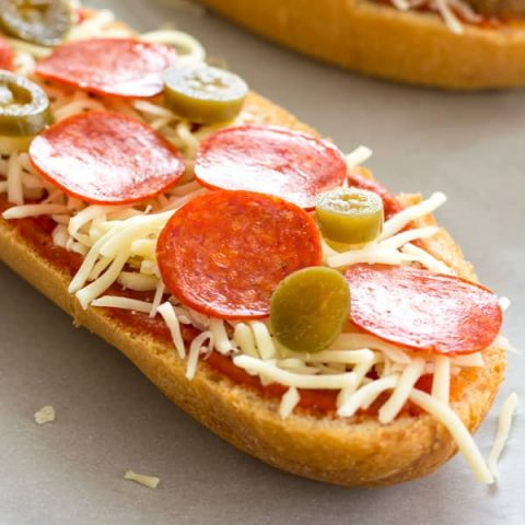 Homemade French Bread Pizza with lots of topping ideas!