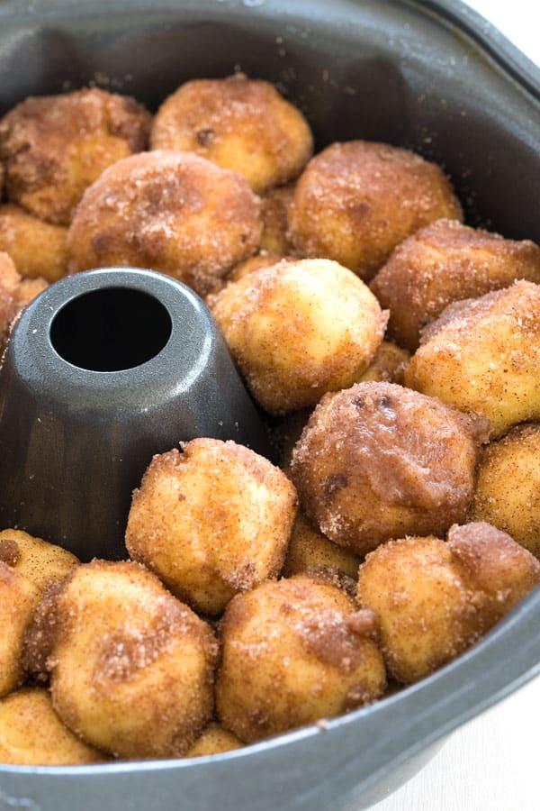 Homemade Monkey Bread From Scratch: unbaked monkey bread in bundt pan