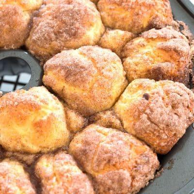Homemade Monkey Bread From Scratch: baked monkey bread still in the bundt pan