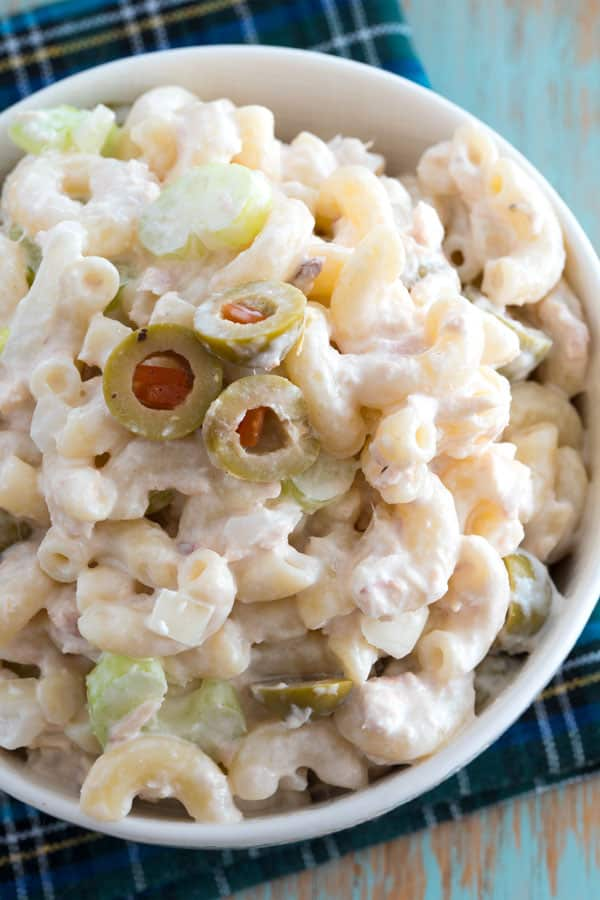The best cold tuna pasta salad! This creamy macaroni salad with mayonnaise is great for potlucks or add peas for a complete meal!