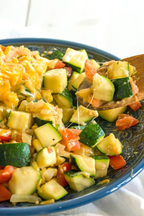 Calabacitas con queso - Mexican zucchini, corn, tomato side dish with cheese