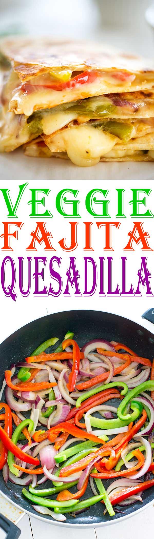 Mexican fajita vegetables are the star of this fajita veggie quesadilla. An easy vegetarian quesadilla recipe everyone will love!