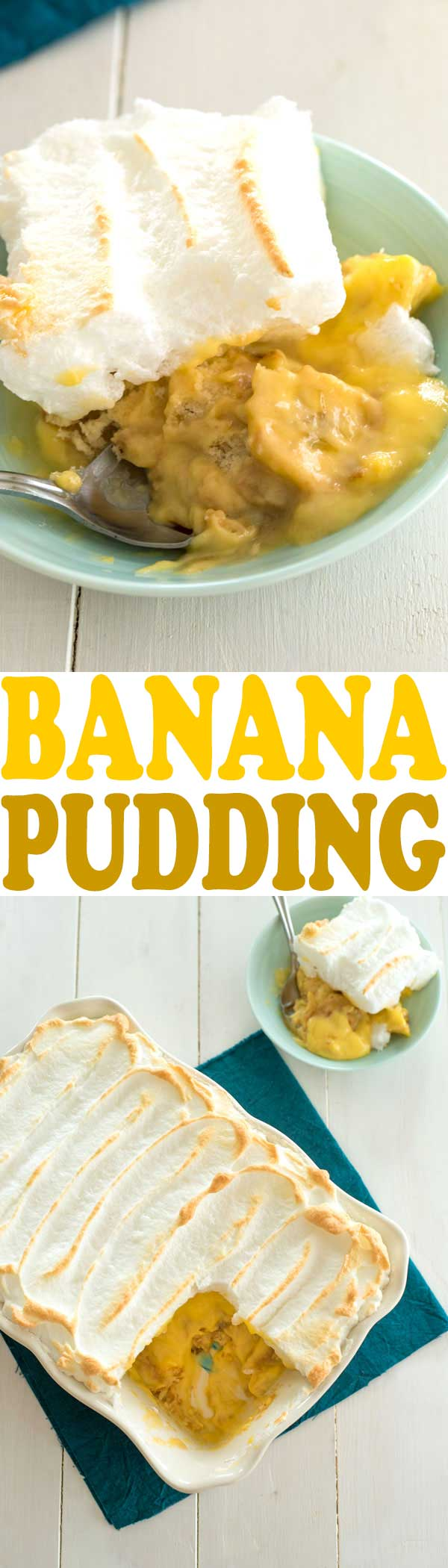 The BEST easy homemade Banana Pudding FROM SCRATCH! This old fashioned southern dessert recipe has a meringue topping and Nilla wafers!