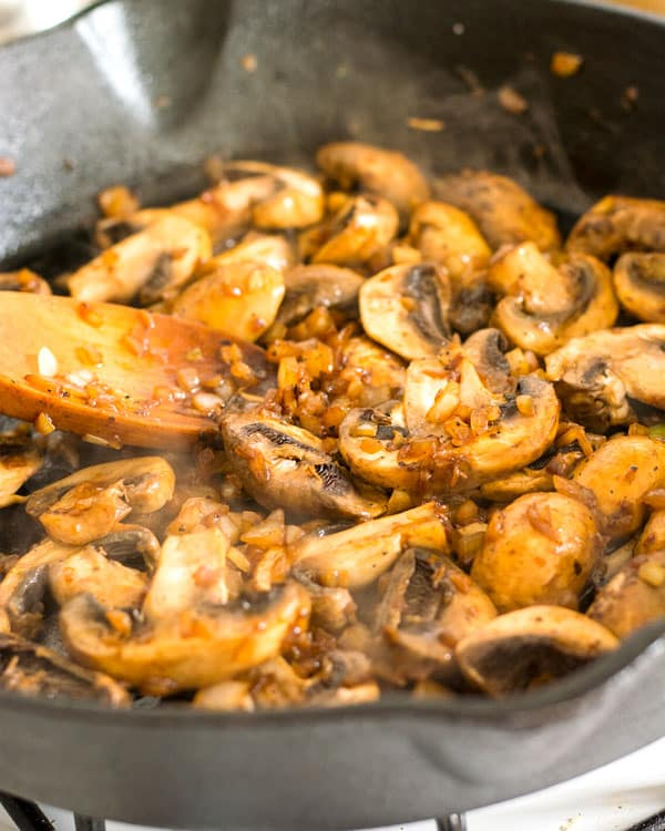 Sauteed mushrooms and garlic for homemade beef stroganoff