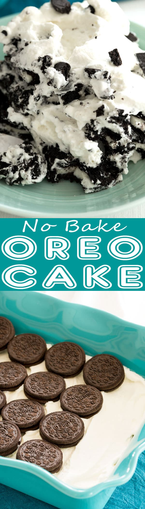 Heavenly Oreo Icebox Cake - an easy no bake Oreo dessert recipe with layers of Oreos and homemade whipped cream. Cookies and cream fluff heaven!!