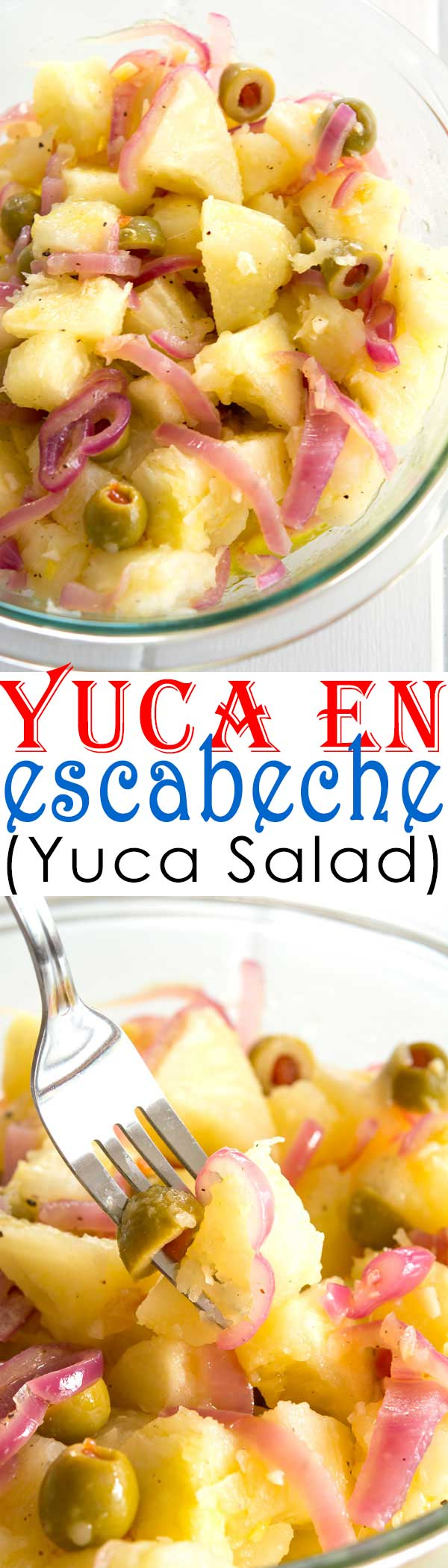 Puerto Rican pickled Yuca en Escabeche - like potato salad but with a garlicky oil and vinegar dressing! Great dinner side dish with pork or beef and super easy recipe!