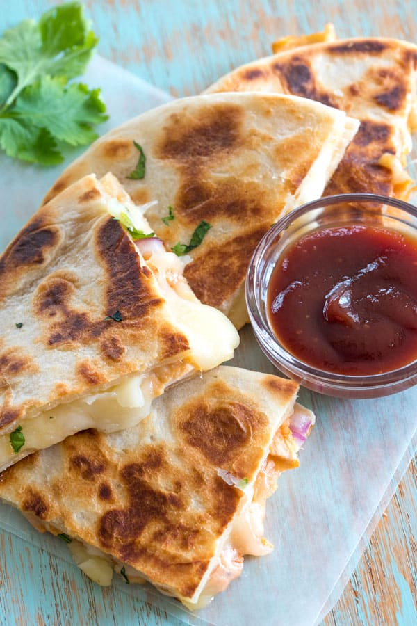 BBQ Chicken Quesadilla with extra barbecue sauce for dipping!