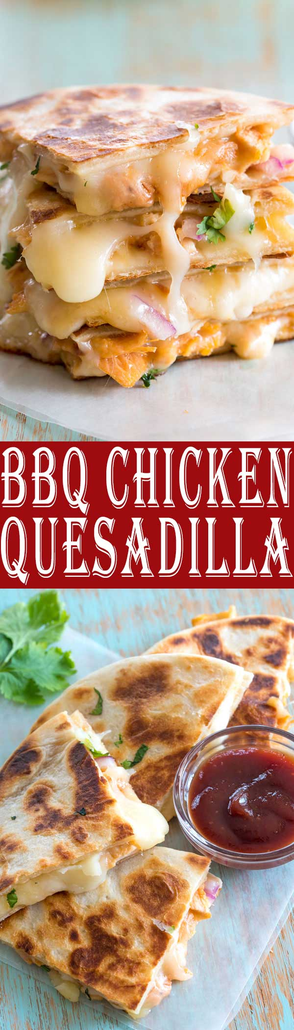 This tasty BBQ Chicken Quesadilla is based off my favorite barbecue chicken pizza! So simple and easy to make a quesadilla instead! #dinner #dinnerrecipes #appetizer #recipe