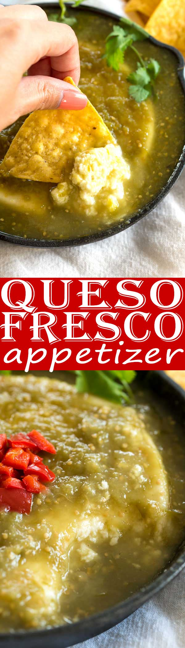 Only 2 ingredients in this insanely delicious Baked Queso Fresco Dip recipe with salsa verde - my best tip how to melt this cheese! #appetizer #mexican #foodgawker #recipeoftheday #cheese #easyrecipe