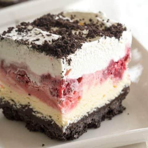 Frozen Raspberry Dessert - chocolate raspberry dessert ice cream cake!