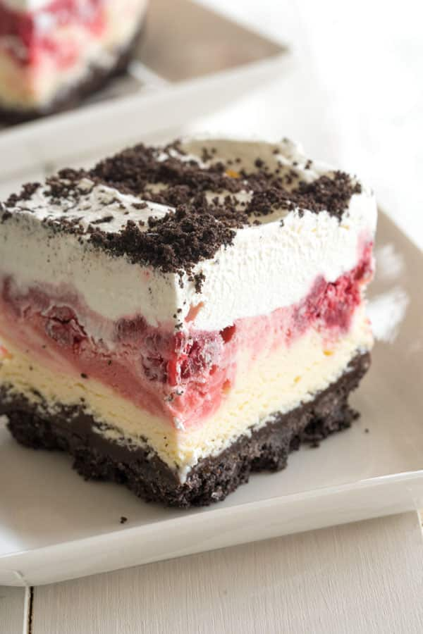 Frozen Raspberry Dessert - chocolate raspberry dessert ice cream cake!