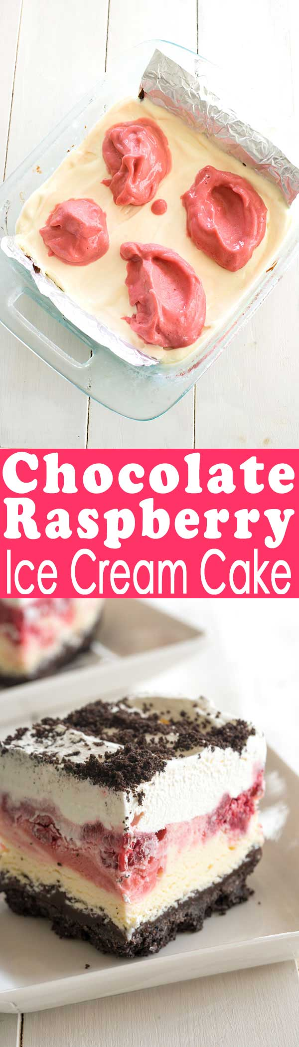 No bake frozen chocolate Raspberry Dessert with Oreo cookie crust. Looks so fancy but easy to make! #dessert #nobake #icecream #dessertrecipes #foodgawker #oreo #cake