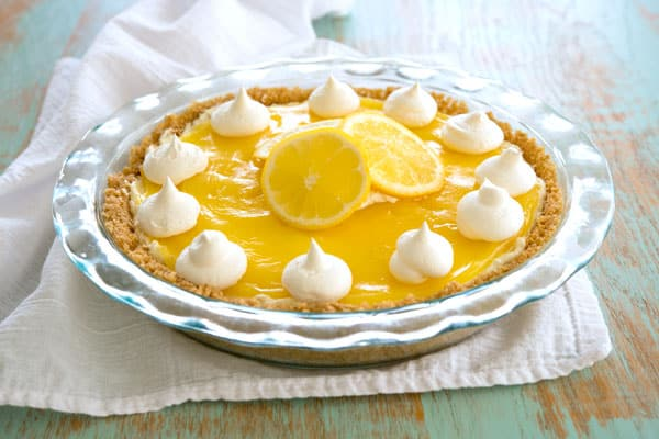 Lemon Cream Cheese Pie - no bake dessert like cheesecake with lemon pie filling!