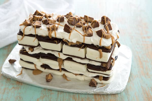 Peanut Butter Ice Cream Sandwich Cake recipe with reese's and fudge
