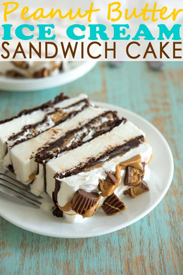 Peanut Butter Ice Cream Sandwich Cake recipe is so easy with layers of fudge, cool whip and Reese's. Will definitely make for a no bake birthday! #dessert #chocolate #peanutbutter