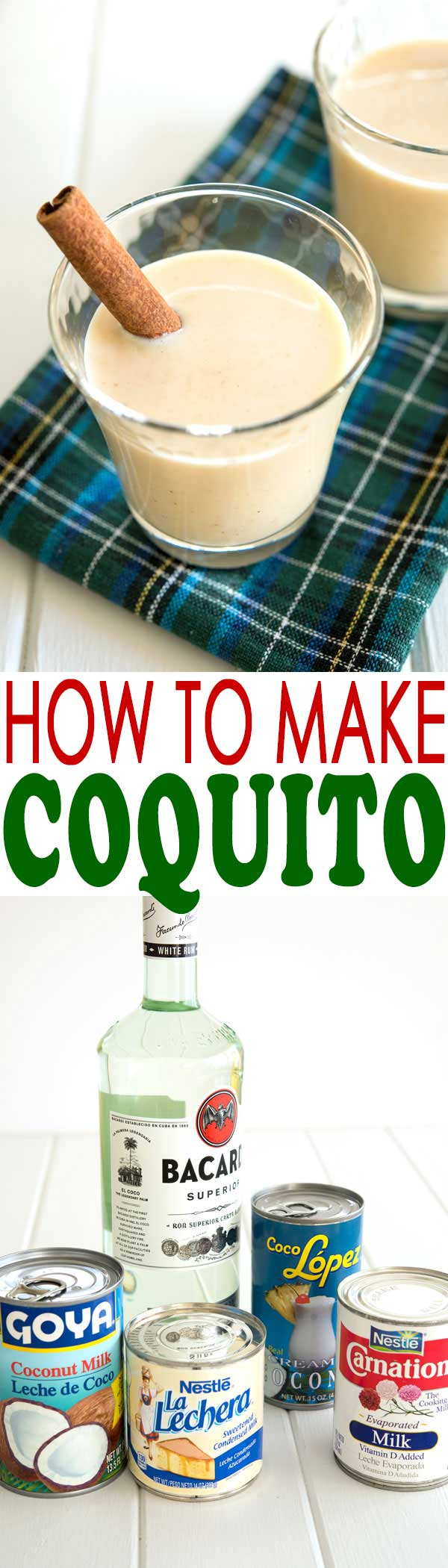 How to make bottles of authentic Puerto Rican Coquito with no eggs! Coquito Recipe (receta) | #cocktails #drinks