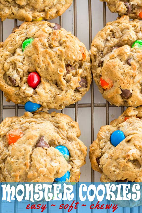 The best soft and chewy giant monster cookies with peanut butter and oatmeal. Easy recipe done in less than 30 minutes! #dessert #cookies #cookierecipes #peanutbutter