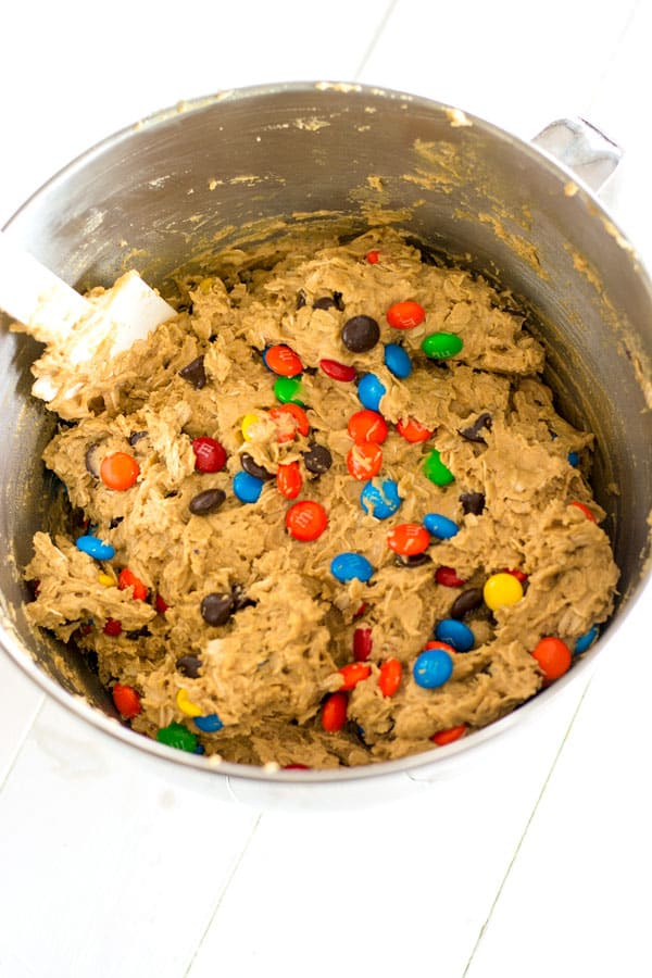 Raw bowl of cookie dough for Monster Cookies