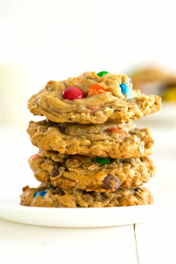 Easy Monster Cookies recipe with peanut butter, oatmeal and M&Ms