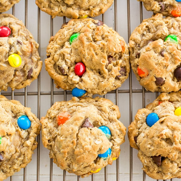 Easy monster cookies recipe with peanut butter and oatmeal