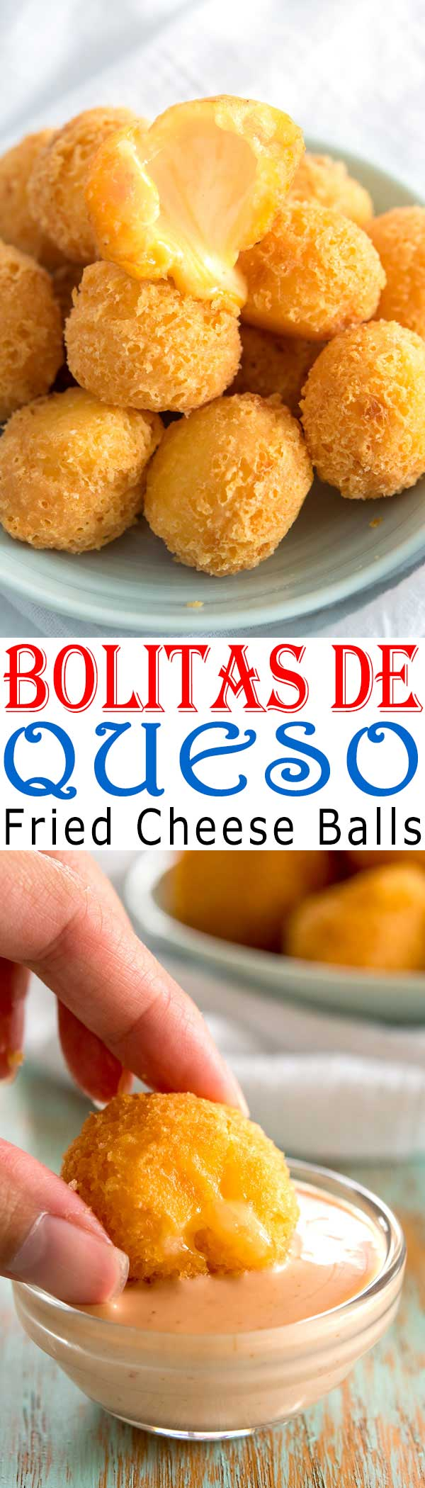 Bolitas de Queso (deep fried cheese balls). Easy, cheesy 3-ingredient appetizer recipe from Puerto Rico! #appetizer #superbowl #cheese #easyrecipe