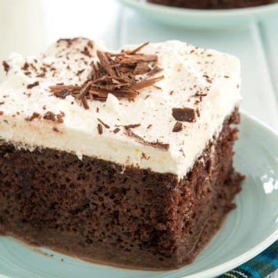 Tres leches cake gets a decadent makeover with this easy chocolate tres leches cake recipe!