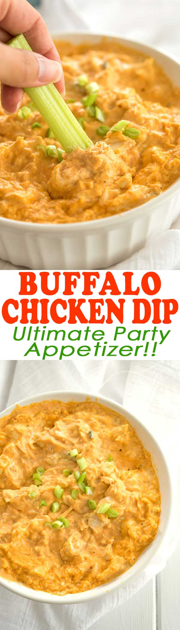 BEST DIP EVER! Easy recipe on how to make buffalo chicken dip! (Cook in crock pot or oven baked like I did). #appetizer #superbowl
