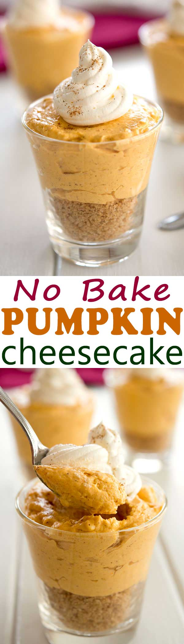 Easy no bake pumpkin cheesecake served in a jar or mini cups for a cute Thanksgiving or Fall dessert recipe! #dessert #thanksgiving #pumpkin