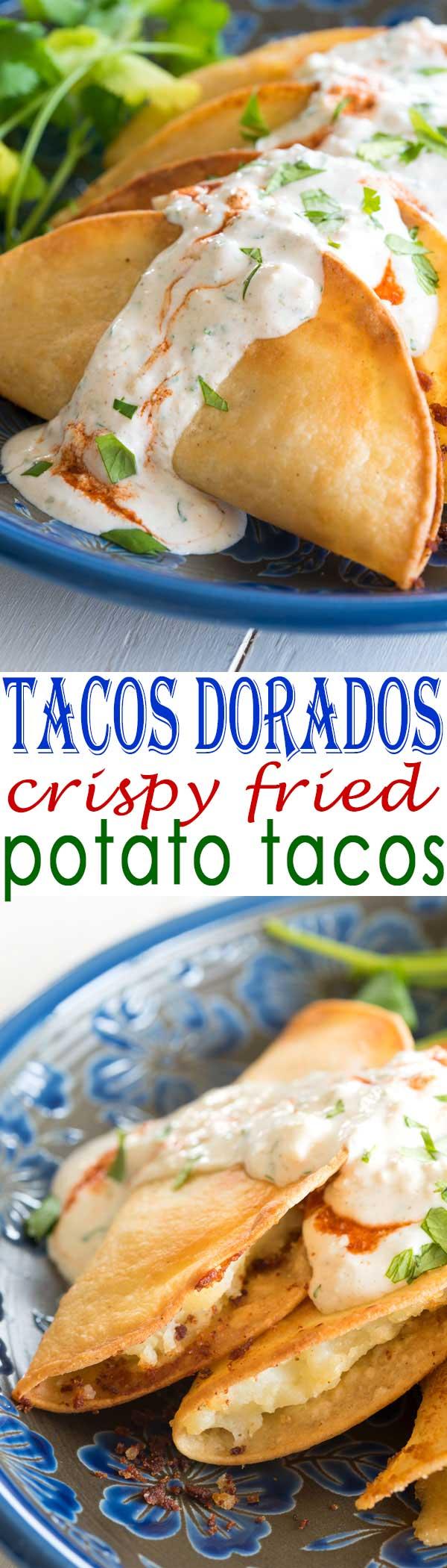 Tacos Dorados de Papa recipe - these fried potato tacos were sooo crispy!! and easy with mashed potatoes! Good for my vegan vegetarian friends too! #mexicanfoodrecipe #tacos