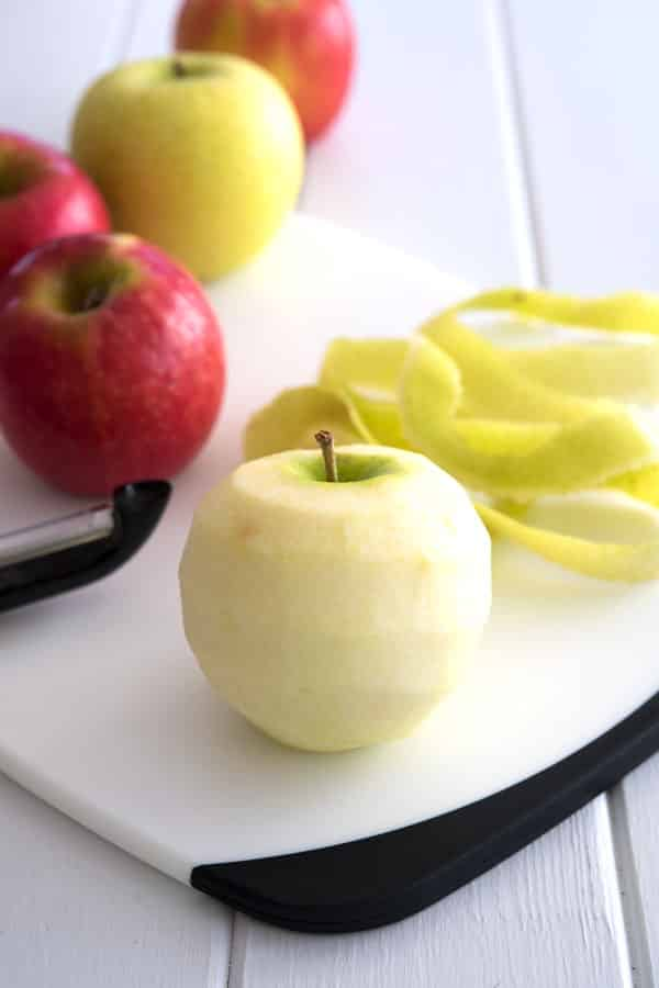 Peeling apples for Crock Pot Cinnamon Apples